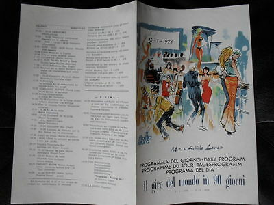Carta Menu'  Flotta Lauro Crociera 1978