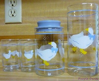 Anchor Hocking FARM COUNTRY GLASS CANISTERS Lot of 4 Geese or Ducks Blue Border