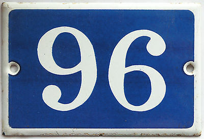 Old blue French house number 96 door gate plate plaque enamel steel metal sign