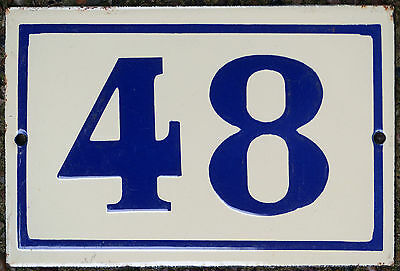 Old used French house number 48 door gate plate plaque enamel steel metal sign