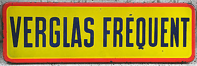 Old French frequent skidding enamel steel metal road street traffic warning sign