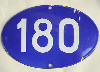 Old oval French house number 180 door gate plate plaque enamel steel metal sign