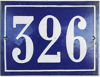 Large old French house number 326 door gate plate plaque enamel steel metal sign
