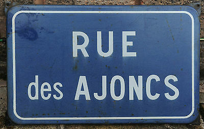 French vitreous enamel street sign road plaque vintage Rue des Ajoncs - gorse