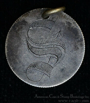 Love Token Engraved S silver on 1877 Liberty Seated Dime 10c.