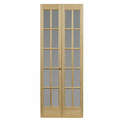 AWC 627 Traditional Divided Frosted Glass 32-inch x 80.5-inch Unfinished Bifold