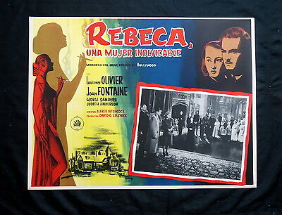 Rebecca Alfred Hitchcock Laurence Olivier Joan Fontaine N Mint Lobby Car 1940