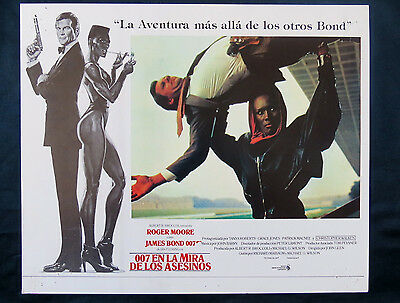 """James Bond """"a View To A Kill"""" Roger Moore Grace Jones Mexican Lobby Card #2/1985"""
