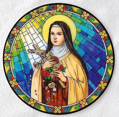 ST THERESE LISIEUX Catholic Window Decal -like stained glass -reusable NEW