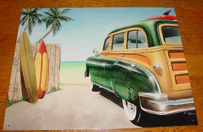 TROPICAL PALM TREE SURFBOARD BEACH FENCE WOODY SIGN Surfing Surfer Home Decor