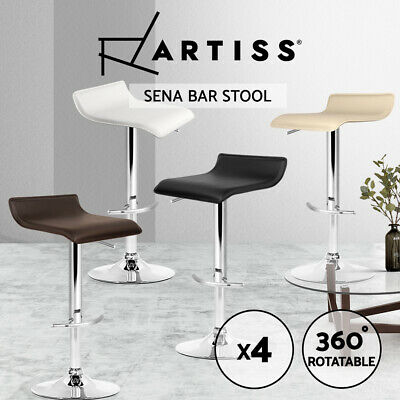 Artiss 4x Leather Bar Stools Kitchen Chair Gas Lift Swivel Bar Stool White Black