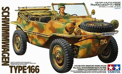 Tamiya 35224 1/35 Scale Military Model Kit German Pkw.K2s Schwimmwagen Type 166