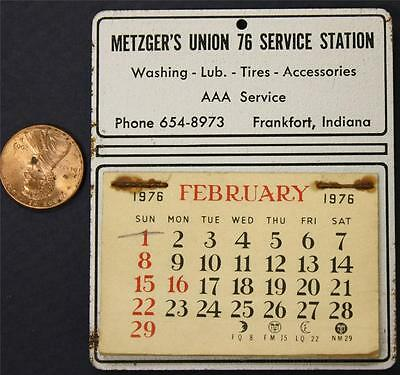 1976 Frankfort,Indiana Metzger's Union 76 Gas station metal visor calendar-NICE!