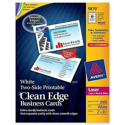"Avery 5870 Clean Edge Business Card - For Laser Print - 3.50"" x 2""0%) - Matte -"