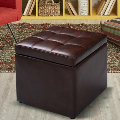 """116"""" Cube Ottoman Pouffe Storage Box Lounge Seat Footstools with Hinge Top Brown"""