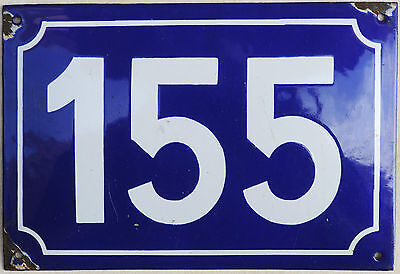 Large old French house number 155 door gate plate plaque enamel steel metal sign