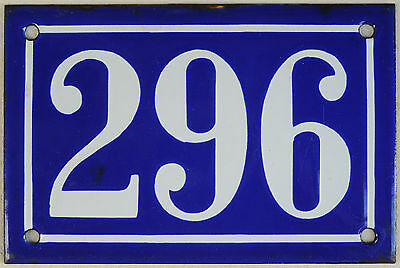 Old blue French house number 296 door gate plate plaque enamel steel metal sign