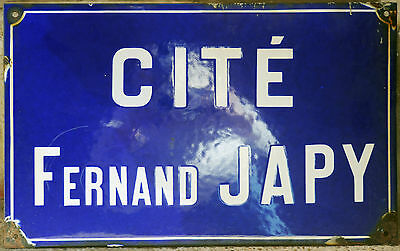 French vitreous enamel steel street sign road plaque Cité Fernand Japy Belfort