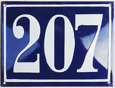 Large old French house number 207 door gate plate plaque enamel steel metal sign
