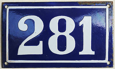 Large old blue French house number 281 door gate plate plaque enamel metal sign