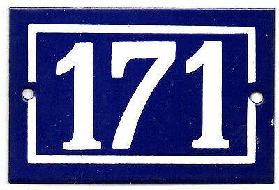 Old blue French house number 171 door gate plate plaque enamel steel metal sign
