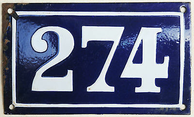 Large old blue French house number 274 door gate plate plaque enamel metal sign