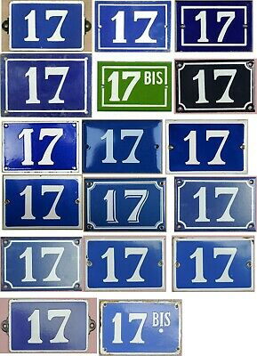 Old blue French house number 17 door gate plate steel enamel sign - your choice