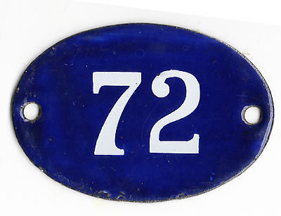 Old blue oval French house number 72 door gate plate plaque enamel steel sign
