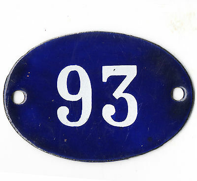 Old blue oval French house number 93 door gate plate plaque enamel steel sign