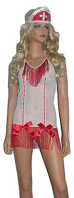 Womens Hot white nurse doctor medic fancy dress costume bedroom outfit 8-10 S