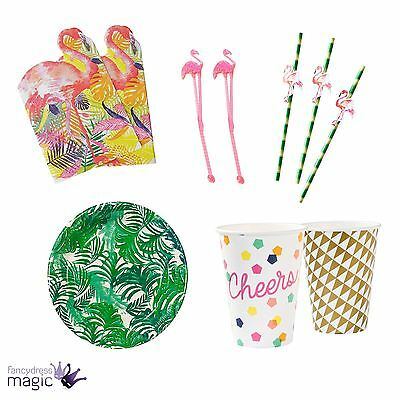 Tropical Summer Fiesta Flamingo Beach Complete Birthday Party Tableware Kit Set