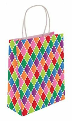 1 48 Harlequin Paper Party Birthday Loot Gift Fillers Goody Bag Handles Pack