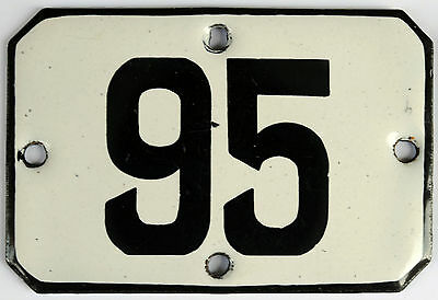 Railway carriage house number 95 door gate plate plaque enamel steel metal sign