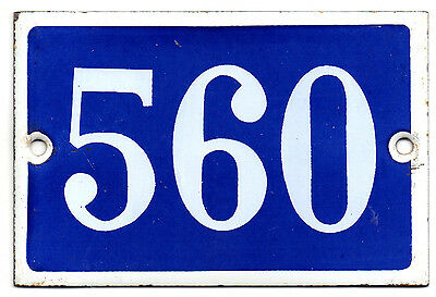 Old blue French house number 560 door gate plate plaque enamel steel metal sign
