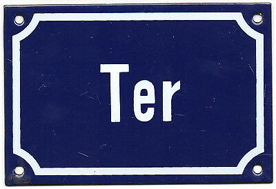 Old blue French house number TER door gate plate plaque enamel steel metal sign