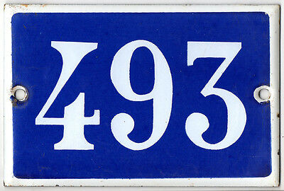 Old French house number 493 door gate plate plaque enamel steel metal sign