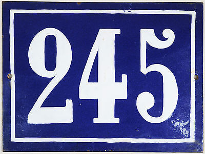 Old blue French house number 245 door gate plate plaque enamel steel metal sign