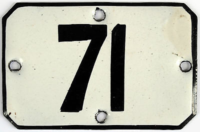Railway carriage house number 71 door gate plate plaque enamel steel metal sign