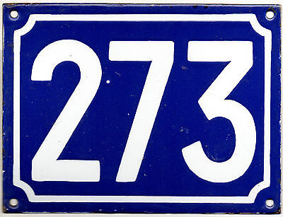 Large old French house number 273 door gate plate plaque enamel steel metal sign