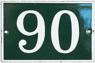 Green French house number 90 door gate plate plaque enamel steel metal sign