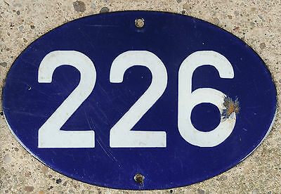 Old blue oval French house number 226 door gate plate plaque enamel steel sign