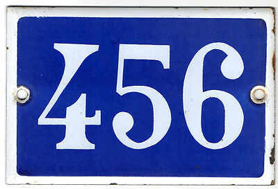 Old French house number 456 door gate plate plaque enamel steel metal sign