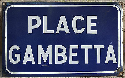 French vitreous enamel steel street sign road plaque vintage Place Gambetta
