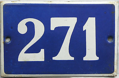 Old blue French house number 271 door gate plate plaque enamel steel metal sign