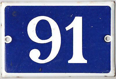 Old blue French house number 91 door gate plate plaque enamel steel metal sign