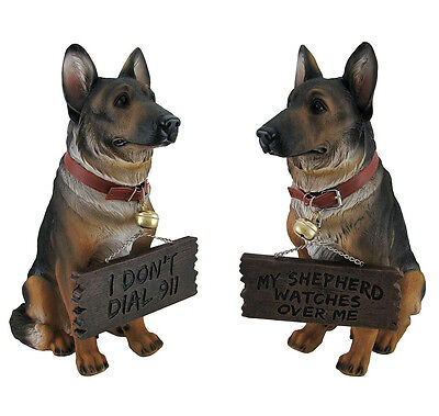 German Shepherd Dog Comical Welcome Sign I don't dial 911 Figurine Home Decor