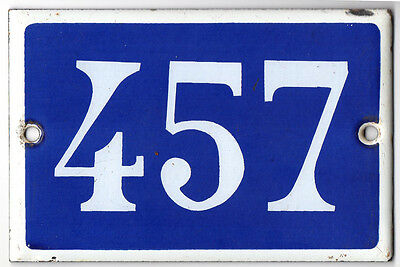 Old French house number 457 door gate plate plaque enamel steel metal sign