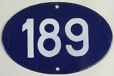 Old oval French house number 189 door gate plate plaque enamel steel metal sign
