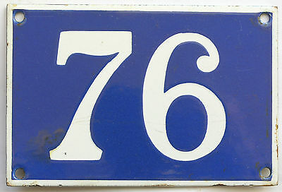 Old blue French house number 76 door gate plate plaque enamel steel metal sign