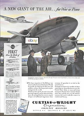 Curtiss Wright Corp Transport C-46 1942 New Giant Of The Air Lithograph Ad